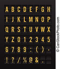 Airport Mechanical Flip Board Panel Font - Yellow/Orange Font on Dark Background