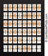 Airport Mechanical Flip Board Panel Font - Yellow/Orange Font on White Background
