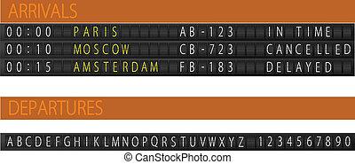 Airport mechanical schedule desk.
