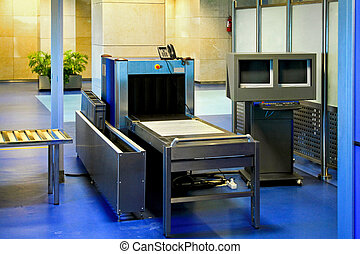 Airport metal detector - Airport security check with metal...