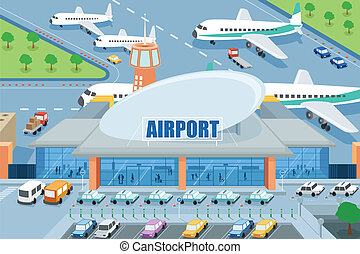 Airport on the outside - A vector illustration of airport on...