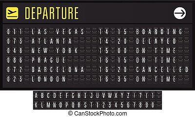 Airport or railroad realistic scoreboard with flip symbols - departure board