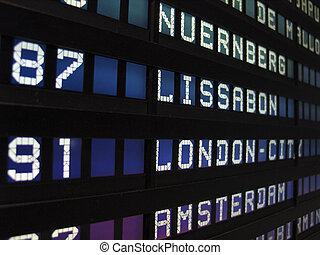 Airport panel in Frankfurt /Main Airport
