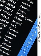 Airport panel with destination flights.