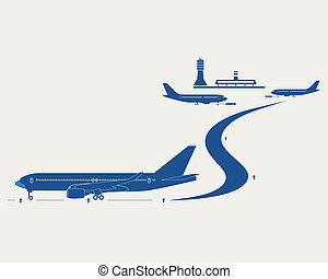 Airport. Passenger terminal, control tower and silhouettes...