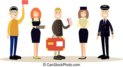 Airport people vector illustration in flat style