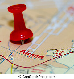 airport pin on the map