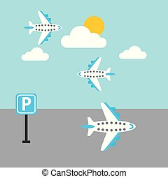airport plane flying sky sun cloud parking sign