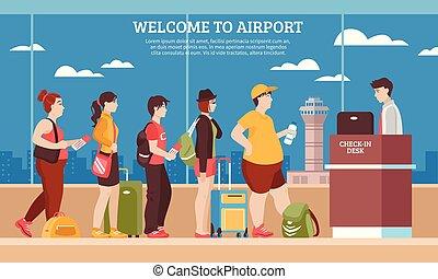 Airport Queue Illustration