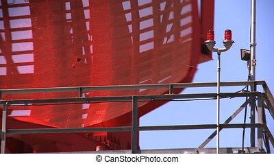 Airport Radar Tower 03 (loop) - Red airport radar rotating...