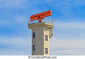 White Airport Tower with red radar on top
