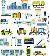 Airport Related Illustration Collection Of Simplified Flat...