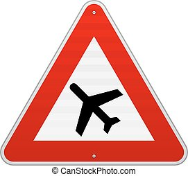 Airport Road Sign - Roadsign illustration of airplane on...