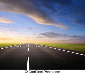 airport runway at dusk or dawn, background