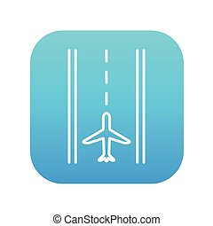 Airport runway line icon.