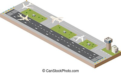 Airport runway - Picture with the image planes and airport...