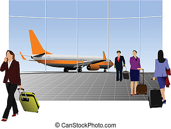 Airport scene . Vector illustratio