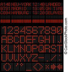 Airport schedule alphabet red diode