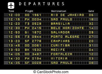 Airport schedule - Brazil - Departure board - destination...