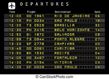 Departure board - destination airports. Vector illustration - the letters and numbers for easy editing your own messages are embedded outside the viewing area. Brazil destinations: Rio de Janeiro, Sao Paulo, Brasilia, Salvador, Porto Alegre and other cities.