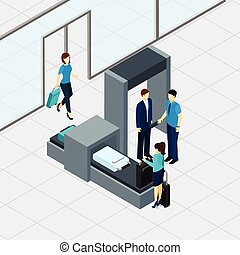 Airport Security Check - Airport security check with ...