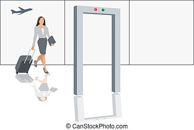 Airport security check - Modern female traveler with luggage...