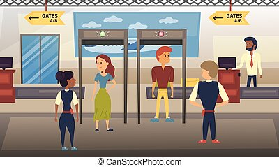 Airport Security Check Concept. People Are Going Through the Security Checkpoint and Checking by Airport Security Staff. Flat Style. Vector Illustration