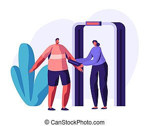 Airport Security Check Concept with Guard Character Scanning Passenger with Metal Detector. Security Checkpoint with Body Scanner. Vector flat illustration