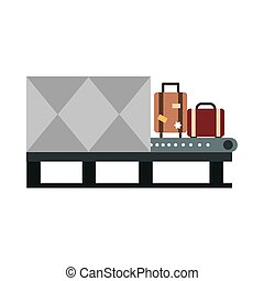 airport security check conveyer suitcase travel transport terminal tourism or business flat style icon