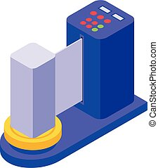 Airport security check icon, isometric style