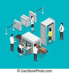 Airport Security Check Isometric Composition Poster