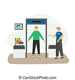 Airport security check point, passenger and baggage screening procedures, flat vector illustration.