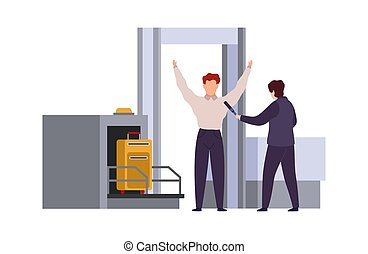 Airport security check. Tiling out baggage and screening or scanning bags vector cartoon travel concept