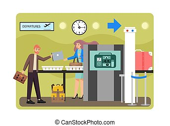 Airport security check, vector flat style design illustration