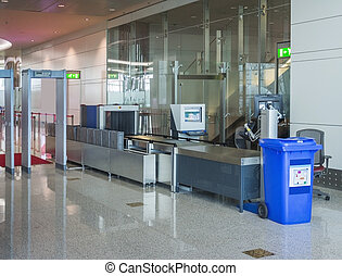 Airport security checkpoint - Airport security check with...