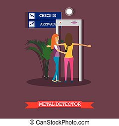Airport security checkpoint concept design element in flat style.