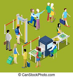 Airport Security Checkpoint with a Queue of Isometric People...