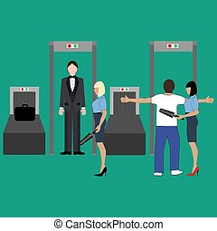 Airport security control illustration