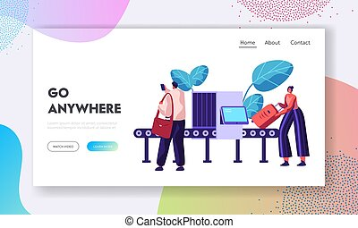 Airport Security Conveyor Belt Scanner Landing Page. Terminal Checkpoint Metal Detector with Traveler Characters and Baggage. Passengers Check Luggage Website, Web Page Banner. Vector illustration