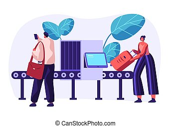 Airport Security Conveyor Belt Scanner. Terminal Checkpoint Metal Detector with Traveler Characters and Baggage. Passengers Check Luggage on X-ray. Vector flat illustration