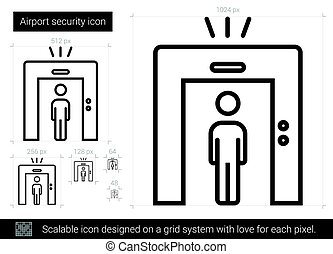 Airport security line icon.