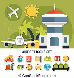 Airport Service Flat Icons Set