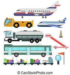 Airport service vehicles and planes vector isolated icons