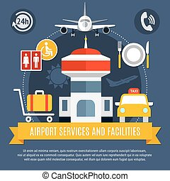 Airport Services Facilities Flat Poster