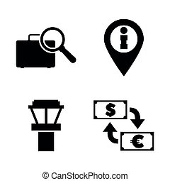 Airport Services. Simple Related Vector Icons