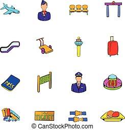Airport set icons set cartoon