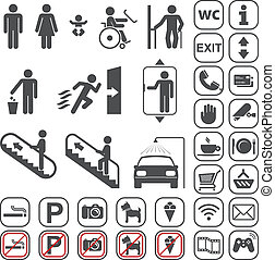 Airport, Shopping mall Icons set - vector gray icons set on...