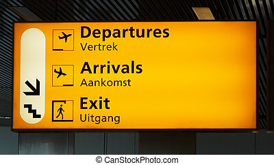 airport sign - Departure sign at the airport