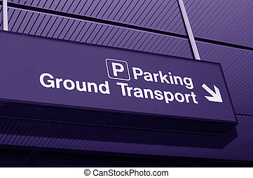 Airport sign - To parking and transportation