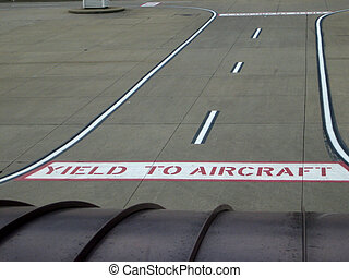 airport signs on ground - Stock picture of signs painted on...